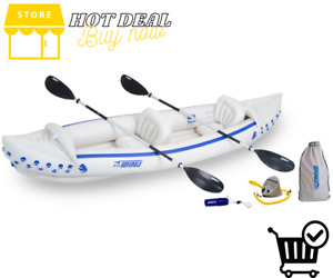 *Sea Eagle* 370 Deluxe 2 Person Inflatable Portable Sport Kayak Canoe w/ Paddles