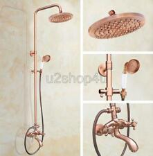 Antique Red Copper Wall Mounted Bathroom Rain Shower Faucet Set Mixer Tap Urg506