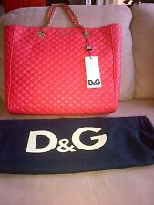 Authentic Dolce & Gabbana Lily Glam Quilted Tote Leather Chain Handle Bag - New!