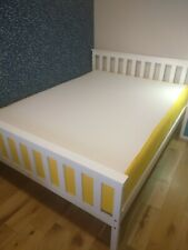 Double solid wood bed with Eve mattress, white