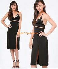 $169 NWT bebe black mesh inset straps cutout zoe top midi dress S Small lingerie