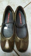 PRADA Tricolor metall Leather  Suede Mesh Mary Jane Flats sz 37 - EUC
