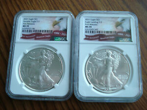 1 SET BU MS-70 2021 SILVER EAGLES, TYPE 1 AND TYPE  2  FIRST  RELEASE    E-2