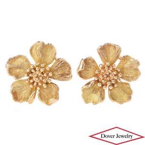 Tiffany & Co 18K Gold Elegant Flower Milgrain Earrings 7.4 Grams NR