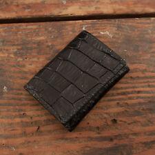 Black Alligator Trifold Wallet Amish Hand Made from Genuine Gator Skin Tri Fold