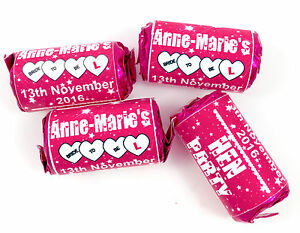 Personalised Love Hearts Pink Favours  SWEETS or WRAPPERS ONLY Hen Party Gift