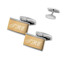 PERSONALIZED TWO TONE STAINLESS STEEL CUFFLINKS ENGRAVED FREE CUFF LINKS
