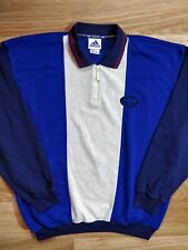 Adidas Originals 90's Vintage Mens Zip Sweatshirt Tracksuit Top Jacket Polo Blue