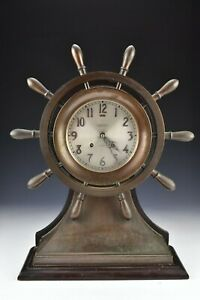 Large Chelsea Mariner Bronze Yacht Wheel Ship's Bell Clock
