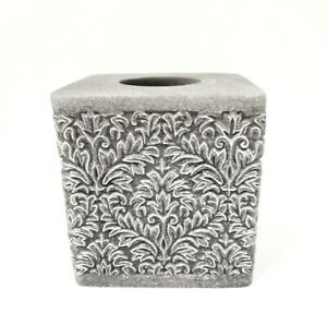 NEW BEAU MONDE WHITE STONE 3D CARVED DAMASK PATTERN NAPKIN HOLDER TISSUE BOX