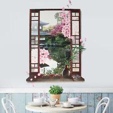 3D Window Sakura Peach Blossom Flower Art Wall Sticker Removable Decal Mural