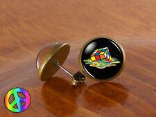 Melting Rubik's Rubiks Rubix Cube Big Bang Theory Stud Earrings Jewelry Gift
