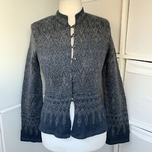 Peruvian Connection Blue & Grey 100% Alpaca Cardigan Size M Patterned Fitted
