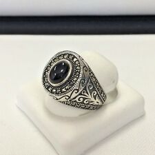 Onyx Marcasite  Men's Ring Sterling Silver .925 Turkish Design Size 11