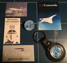 B.A. CONCORDE  LEATHER KEY RING,  GOLD PLATED BADGE +  4 X PHONE STICKERS