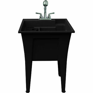 Rugged Tub Garage and Laundry Sink with Pull-Out Faucet - 24in.W, Black,