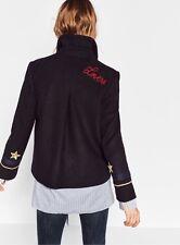 Zara Azul Marino Lana Abrigo Chaqueta corta de estilo militar con detalles de Parche Talla M UK 10