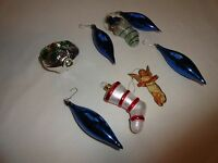 LOT OF 8 VINTAGE CHRISTMAS ORNAMENTS - SOME FROM WEST GERMANY AND POLAND