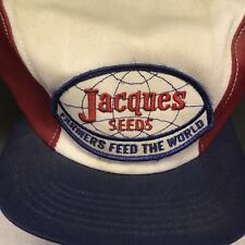 Vtg Jacques Seeds Hat Cap Ear Flap Trucker Farmers Feed The World Red White Blue