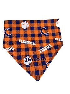 Clemson Tigers  dog bandana personalized  slides through the collar,   Small