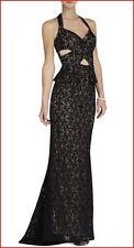 BCBG MAXAZRIA DAGA BLACK LACE CUTOUT HALTER GOWN  Size 2 NWT $468-RackG/19