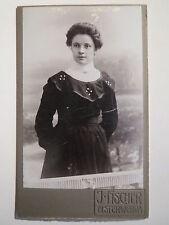 Elsterwerda - stehende junge Frau im Kleid - Portrait / CDV
