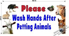 2' x 4' Vinyl Banner Please Wash Your Hands Sign For Petting Zoo Animal Event
