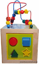 Wooden activity cube with an assortment of toys medium size