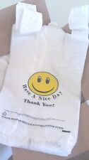 """Large Happy Face Smiley Bags 12"""" x 7"""" x 23"""" - 180 White Bags with Yellow Smiley"""
