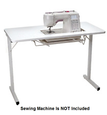 Folding Sewing Machine Table Adjustable Platform Portable Craft Table Desk White