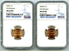 2020 P & D CENT NGC MS66 SHIELD MATCHING 2 COIN LINCOLN LABEL SET FIRST RELEASES