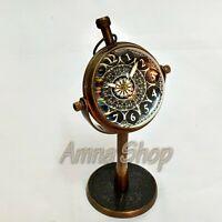Brass Desk Clock Vintage Style Quartz Collectible Gift