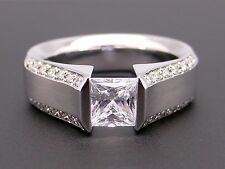 14k White Gold Princess Cut Round Diamond Engagement Ring Tension Semi Mounting