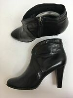 WOMENS JOHN GARFIELD BLACK LEATHER FAUX FUR LINED HIGH HEEL ANKLE BOOTS UK 5