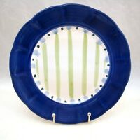 "Vietri Solimene Italy BLUE RIM/GREEN STRIPES Dinner Plate(s) 10 1/4"" RARE"