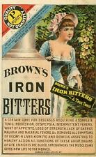 BROWN'S IRON BITTERS BEWARE OF IMITATIONS QUACKERY BORROW-GILES LITHO TRADE CARD