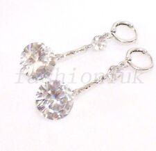 137f1697166b Pendientes Largos Colgantes Bañado en Oro Blanco Diamante Sintético