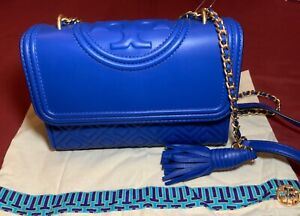 TORY BURCH LEATHER SMALL FLEMING CONVERTIBLE BAG NAUTICAL BLUE MSRP $458 NWT!