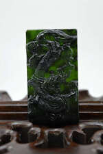 China's natural nephrite carving black jade pendant Amulet Necklace Dragon
