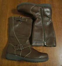 Girl's/Women's FADED GLORY NatureTex Size 5 Brown Boots Pull On~Zipper Side NWT