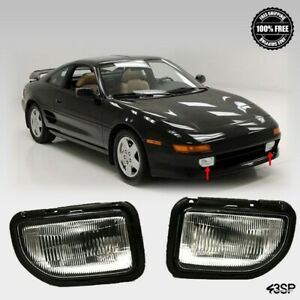 Fits For 1991 1995 Toyota MR2 Front Fog Lights Clear Lens Pair LH RH Set w/Bulbs