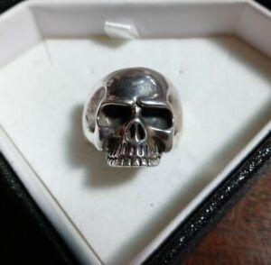 Heavy Vintage Mens Biker Skull Ring Sterling Silver 925 Size 10 Not Scrap
