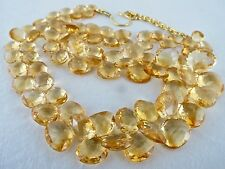 410 CTS CITRINE HEART SHAPED DROPS BRIOLETTE NECKLACE 925 SILVER HOOK