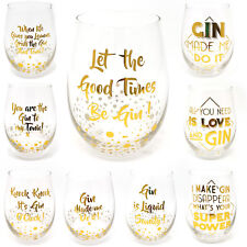 Stemless Gin & Tonic Glasses G&T Lovers Novelty Cocktail Glass Gift Boxed