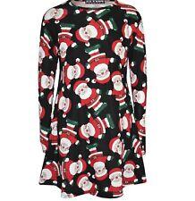 Fantastic Ladies Girl Womens Xmas Christmas Santa Skater Snowman SwingDress Royal Gingerbread 2/3