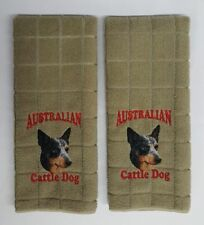 Australian Cattle Dog, Embroidered Hand Towels 2 pack, Khaki Color