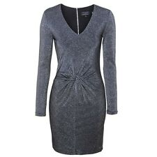 TED BAKER Black Silver Sparkle Front Twist LIZZEY Bodycon Dress Sz 1 = US 4 NEW