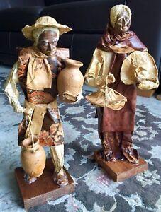 """2 Rare Antique Handmade Mexican Cartonería Folk Art 13""""/33cm Paper Mache Figures"""