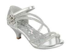 Girls Silver Rose Gold White Dress Shoes Rhinestones Heels Pageant Party Angel