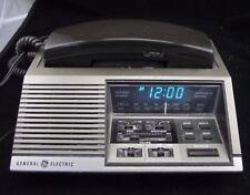 WOOD GRAIN GENERAL ELECTRIC  GREEN LED  CLOCK RADIO W TELEPHONE WORKING 7 4737 A
